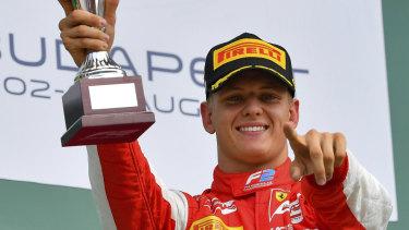 Mick Schumacher celebrates his breakthrough Formula Two win in Hungary.