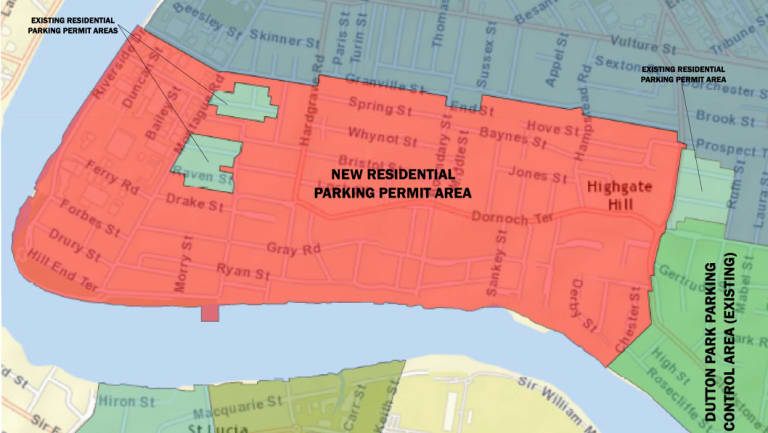 Map showing residential parking permit scheme area in West End and Highgate Hill.
