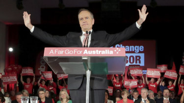 "Opposition leader Bill Shorten urged supporters to ""vote for change"" during a rally on Thursday."