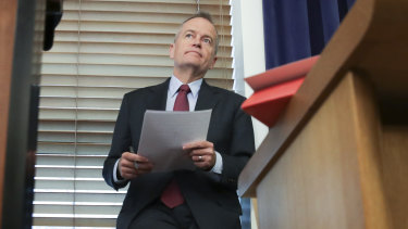 Opposition Leader Bill Shorten prepares to address his MPs ahead of the budget-in-reply speech on Thursday.