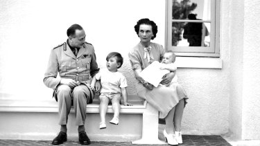 The Duke and Duchess of Gloucester with their children at  Yarralumla soon after their arrival in Australia.