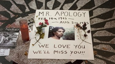 A memorial for artist Allan Bridge, who started the Apology Line, in New York City's Central Park in 1995.