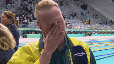 The emotion was too much for Matt Wilson after making his first Olympics team.