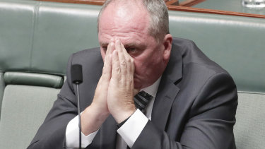 Barnaby Joyce in Parliament after his failed leadership challenge.