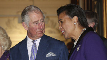 Prince Charles with Commonwealth secretary-general Patricia Scotland, whose future is in doubt.