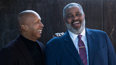 Bryan Stevenson (left) and Anthony Ray Hinton, whose conviction he worked to overturn.