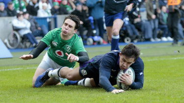 Pressure: Scotland's Sam Johnson scores a try in the Six Nations clash with Ireland last month.