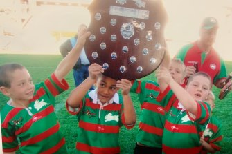 Keaon Koloamatangi (second from left) and Cameron Murray (left) enjoy an early taste of success.