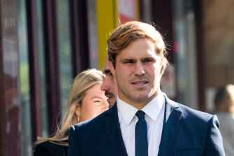 NRL star Jack de Belin is awaiting the jury's verdict.