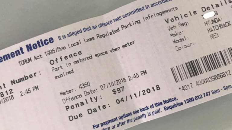Parking fine issued to Tammy Forward by Brisbane City Council.