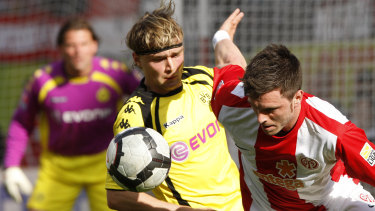 Victory target: Tim Hoogland (right) playing for Mainz in the German first division Bundesliga.