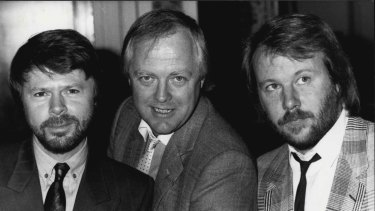 Tim Rice with ABBA's Bjorn Ulvaeus and Benny Andersson at the original announcement of the musical <i>Chess<i>.
