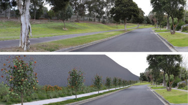 Bulleen's Estelle Street before and after images in a government document showing the 10-metre noise wall that would be built.