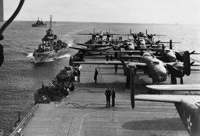 Sixteen B-25 medium bombers aboard the carrier USS Hornet within take-off distance of the Japanese Islands.