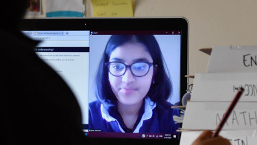 Melbourne Girls' Grammar student Ahelee Rahman is adjusting to remote learning.