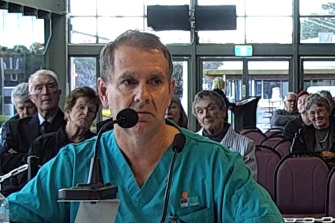 Dr Nigel Roberts from Taree speaking at the health inquiry.