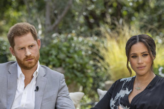 Prince Harry and Meghan, Duchess of Sussex, during their interview with Oprah Winfrey.