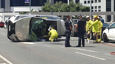 A car rolled on Turbot Street in Brisbane's inner city on Wednesday after it was clipped by another vehicle.