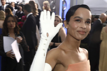 Zoë Kravitz arrives at the 26th annual Screen Actors Guild Awards at the Shrine Auditorium & Expo Hall on Sunday, Jan. 19, 2020, in Los Angeles. (Photo by Matt Sayles/Invision/AP)