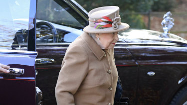 Queen Elizabeth – without Prince Philip – attends a service at St Peter's church in Wolferton, near the Sandringham Estate, on Sunday.