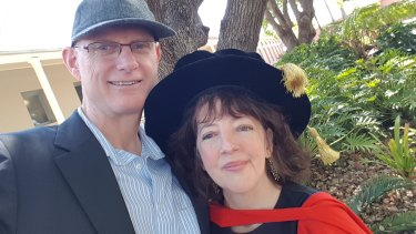 Neroli Colvin and Jock Cheetham at PhD award in 2017.