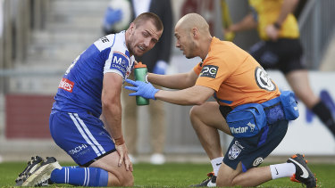 Kieran Foran had to undergo a head injury assessment as well as hurting his toe against the Dragons.