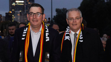 """Daniel Andrews and Scott Morrison - during the annual Long Walk celebrations before the Dreamtime at the 'G clash - are the new """"odd couple"""" of Australian politics."""