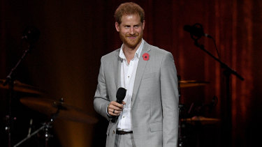 Prince Harry, the Duke of Sussex gives the closing address during the closing ceremony of the Invictus Games in Sydney on Saturday.