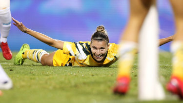 Steph Catley celebrates scoring a goal in Australia's Olympic qualifying win over Chinese Taipei in February.