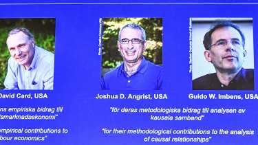 David Card, Joshua Angrist and Guido Imbens won the Nobel prize in economics.