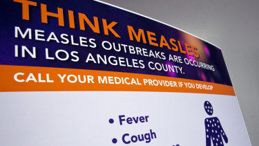 A poster released by Los Angeles County Department of Public Health is seen as experts answer questions regarding the measles response and the quarantine orders in Los Angeles.