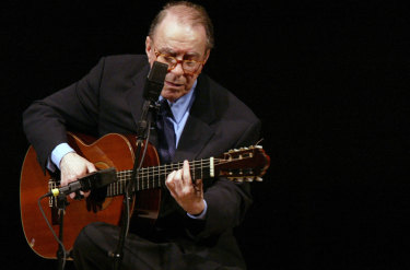 Brazilian composer Joao Gilberto performs at Carnegie Hall, in New York, 2004.