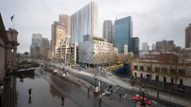 An artist's impression of the Windsor Hotel at Spring Street, opposite Parliament House.