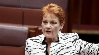 Pauline Hanson in the Senate.