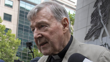 George Pell leaves court in Melbourne on Tuesday.