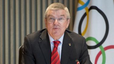 IOC president Thomas Bach addressing the media in Switzerland
