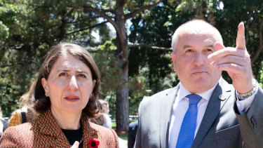 Gladys Berejiklian and David Elliott, photographed just before Ashleigh Raper's statement said her story had been used without her consent.