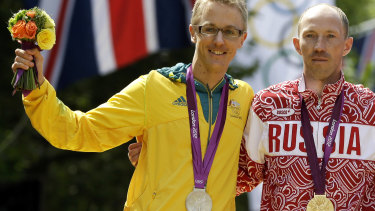 Australia's Jared Tallent won silver in the 50-kilometer walk at the 2012 Olympics. He was later awarded the gold.