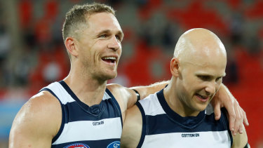 Dynamic duo: Geelong's Joel Selwood and Gary Ablett after the narrow win over Sydney on Sunday.