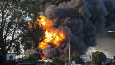 Plumes of black smoke from the fire in Campbellfield.