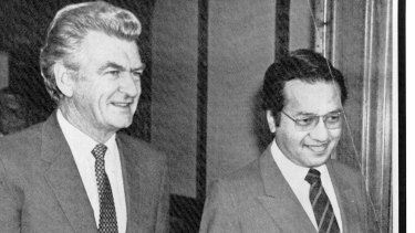 A long history: Malaysian Prime Minister Mahathir Mohamad and prime minister Bob Hawke in 1984.