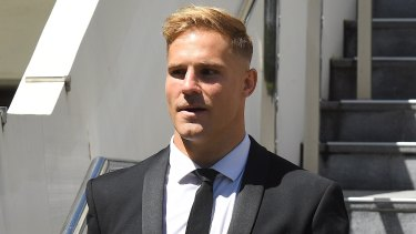Jack de Belin outside Wollongong District Court earlier this month.