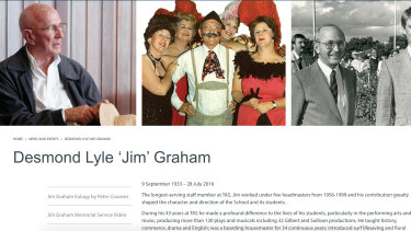 One of the web pages dedicated to late housemaster Desmond Lyle 'Jim' Graham, prior to it being pulled offline.