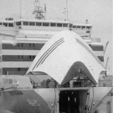 The Estonia, pictured in February 1994, with its cargo door open.