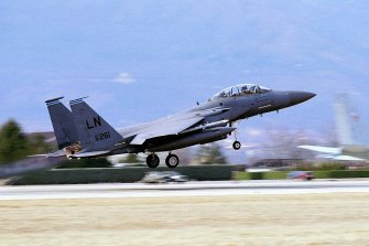 An F-15E Strike Eagle takes off from NATO's Aviano, Italy air base.