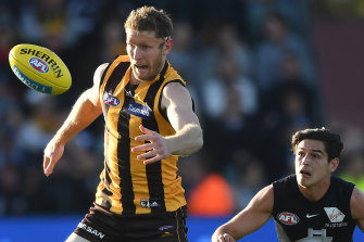 Ben McEvoy, left, in action against the Blues last year.