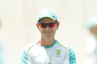 Justin Langer at Australian training at the SCG on Tuesday.