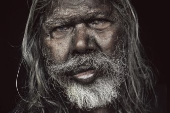 Detail of the portrait of David Gulpilil that adorns the cover of Derek Rielly's book.