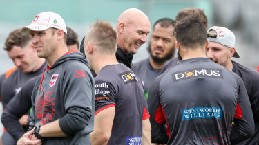 Under pressure: Dragons coach Paul McGregor at training during the week.