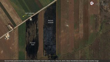 Significant damage to fields and orchards south of Kfar Nabudah, Syria, on May 26 as a result of a government offensive.